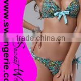 Halter Peacock Straps and Light Blue Bows Bikini with Peacock Hollow-out Panty Sexy Morden Fashion Bikini Swimwear NA100-peacock