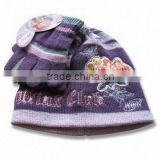 kids knitted acrylic beanie hat with magic glove sets