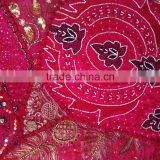 Ethnic Tribal Indian Vintage fabric sari patchwork beads sequins tapestry table runner Christmas tapestries