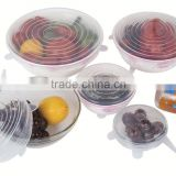 New Wholesale FDA food grade bpa free clear 6 sizes silicone lids food and bowl covers