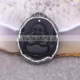 Black Obsidian Pendant, with Pave Crystal Edged Carving Buddha Pendant, Druzy Gem Stone Pendant