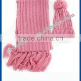 100% acrylic winter sets in pink color for girl with fashion jacquard pattern