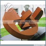 Modern Abstract Metal Corten Sculpture for Square Decor