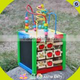 2017 wholesale wooden cubic wire bead children wooden cubic wire bead colorful wooden cubic wire bead W11B060