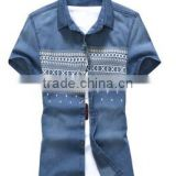 Men's Printed Denim Shirts Short Sleeve Denim Shirt For Men Washed Denim Casual Shirt