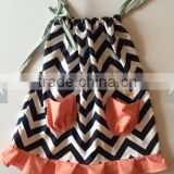 2015 Hot Sale Baby Chevron Ruffle Dress Girl Summer Pillowcase Dress Wholesale Baby Pocket Dress