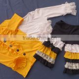Newest School Girls Design Lace Sleeve Top .5 Layers Ruffle Navy Pants & Coat With Button 3 Pcs Clothing Sets QL-74