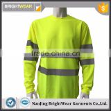 Men's high visibility 100%polyester birdeye fabric traffic wholesale reflective tshirt