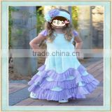 Children girl 7th birthday party light blue formal ruffle used clothes in bales price ball gown 3 year old girl wearing