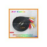New 3M RCA Cable 3 to 3 Audio Video AV Stereo  Ideal to use with VHS, DVD, TV, Amps, Hi-Fi, home cinema projector etc..