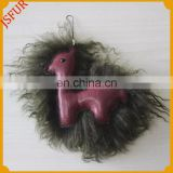Cute design alpaca pattern mongolian lamb fur keychain with real leather bag charm accessory