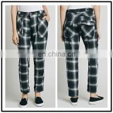 2016 Spring British Fashon Trend High Waist Scottland Big Plaid Check Pants for Women NT6731