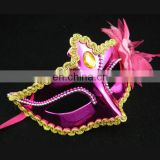 PVC Pink Masquerade Party Mask With Flower