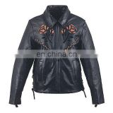 HMB-0292C WOMEN LEATHER JACKETS MOTORBIKE ROSE FASHION COATS