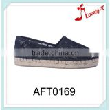 ladies girls factory lazy hand made double espadrilles lace upper mesh casual flat shoes