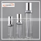 Stylish cylinder with diamond ring collar PETG, SAN, PET GLASS airless and lotion bottle