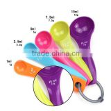 Wholesale measuring spoon set colorful ABS set of 5pieces measuring spoons teaspoon baking tools spoon set