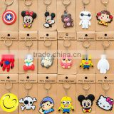 Cheap custom cartoon key chain/The 3 d cartoon key chain custom rubber key chain/Wholesale cartoon design silicone key chain
