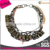 fashion multi layers alloy and pink beads rhinestone chains grey acrylic chunky necklace statement
