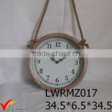 Rope Hanging Round Metal Vintage Antique Wall Clock                                                                         Quality Choice