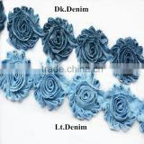 "2.5"" Solid jean Shabby Chiffon Flower/ denim solid fabric flower, Fashion 2.5"" Chiffon denim Shabby Trim Chic Shabby Flower Trim"