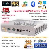 Fanless Mini PC Windows,8GB RAM 64GB SSD 1TB HDD Small Computer 2 Gigabit Lan/HDMI/COM Core i3 5010U12V/6A Nettop Intel HD5500
