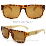 Fashion bamboo temple eyewear durable PC frame sunglasses unique European design glasses
