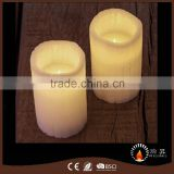 Europe style handcraft charcoal candles pillar shape with warm white LED light