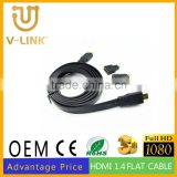 Gold plated hdmi cable 1.5m black flat hdmi to mini+micro+hdmi displayport 3 in 1 converter cable