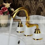 Two handles exquisite antique faucets water tap, swan top brass gravity casting basin faucets, bath faucet hand shower