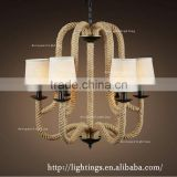 Retro industrial lightingAmerican Country Style Loft Retro Ball Shade Hemp Rope Chandelier