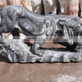 Tiger statue black marble stone hand carved sculpture for home garden hotel restaurant from Vietnam