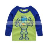 Fashion custom Infant/toddler long sleeve raglan baby kids t shirts with cartoon printing