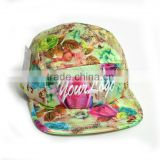 2016 fashion Wholesale Printing Custom Floral 5 Panel Snapback Hats baseball cap softextile hip hop cap