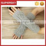 V-413 Women knitted cable long soft winter braided arm fingerless mitten gloves knit arm warmer