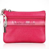 Promotional Gift Handmade Zipper Leather Coin Case Change Case Leather Coin Purse Change Purse