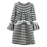 Hot selling baby modern girls dresses a line frocks designs black and white stripe long sleeve dress