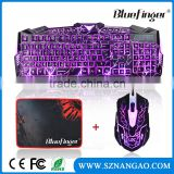 USB Wired Cool Crack Colored backlit ergonomic gaming keyboard and mouse for desktop
