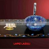 Lapis Gemstone Kitchen Sink Bowl With Marble Inlay Counter Top