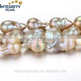 15mm AA grade irregular baroque nucleated pink peach natural freshwater pearl bead price