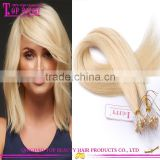 Wholesale Virgin Brazilian micro loop hair extension 1g 8-30 inch #613 micro loop ring hair extensions