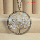 Titanium Steel wire wrap crystal chip beads Tree Pendants