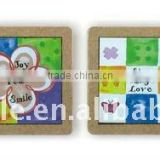 Ceramic trivet with cork frame with decal printing