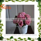 Home mini artificial handle rose flower with potted for sale