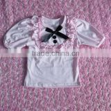 2016 boutique baby girl plain design top with bib and bow baby beautiful middle sleeve shirt