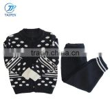 Baby Boys Cardigan Sweater And Pants 2pcs Set With Computer Knitted Pattern Kids Clothes Wholesale