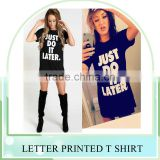 New Fashion women letter printed short sleeve t shirt tee shirt casual loose blouse tops