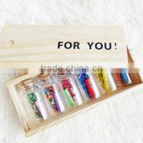 """For You"" Wooden Box / Wishing bottle 6 Glass & 6 Mini Letter Papers Gift Wedding Decoration"