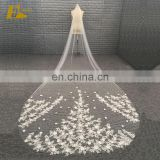 ED Bridal Factory Custom Made Ivory Long Wedding Veil With 3D Flowers