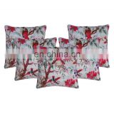 Indian Floral White Bird Print Kantha Cushion Cover Pillow Covers